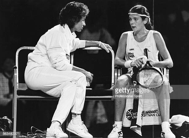 British tennis player Annabel Croft listens to instructions from Virginia Wade during the Wightman Cup tennis match between Great Britain and the...