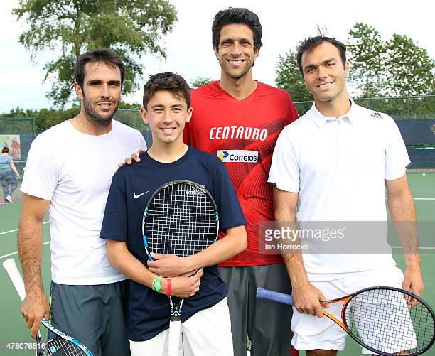 British tennis player Christian Mills of Derbyshire after a coaching session with Professional players David Marrero of Spain and Marcelo Melo of...