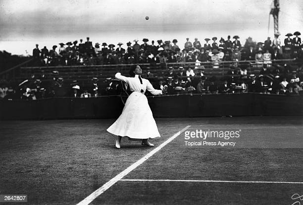 British tennis player Dora Boothby in action during a match at Wimbledon