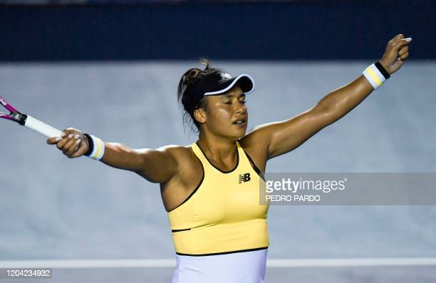 British tennis player Heather Watson celebrates after winning the Mexican Tennis Open WTA final match against Canada's Leylah Fernandez during their...