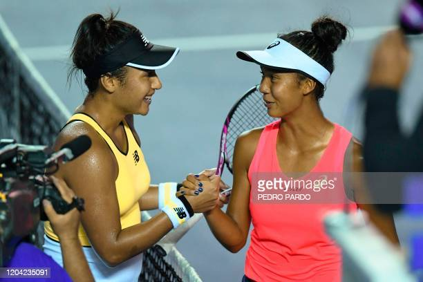 British tennis player Heather Watson shakes hands with Canada's Leylah Fernandez after winning the Mexican Tennis Open WTA final match during their...
