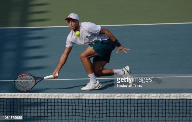 British tennis player Jay Clarke in action during KPIT Mslta ATP Challenger Tour at Tennis Sports Complex Balewadi on November 21 2018 in Pune India