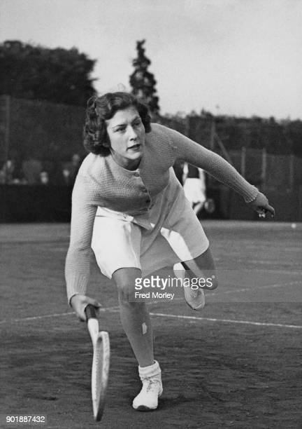 British tennis player Jean Bostock in action 12th April 1946 She has been selected to train with Dan Maskell the professional tennis coach with a...