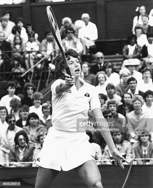 British tennis player Jo Durie competing at Wimbledon Tennis Championships in London England June 1984