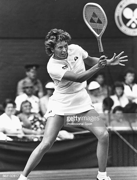 British tennis player Jo Durie in action on Centre Court at Wimbledon Tennis Championships London June 1983