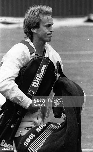 British tennis player John Lloyd after a match against E Teltscher during the 1985 Wimbledon Championships Original Publication People Disc HP0341