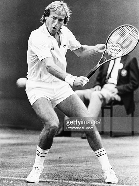 British tennis player John Lloyd in action against Andreas Maurer at Wimbledon Tennis Championships London June 1984