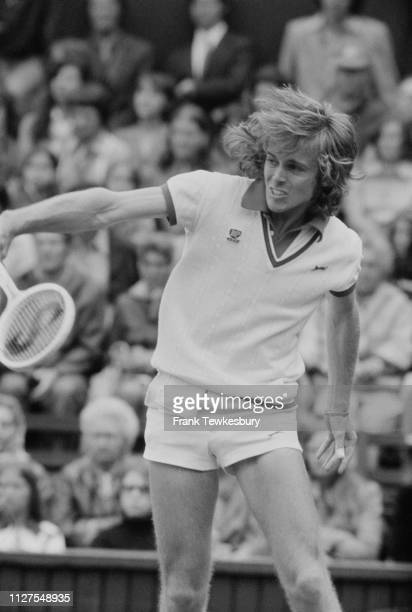British tennis player John Lloyd in action at Wimbledon Championships London UK 1st July 1975