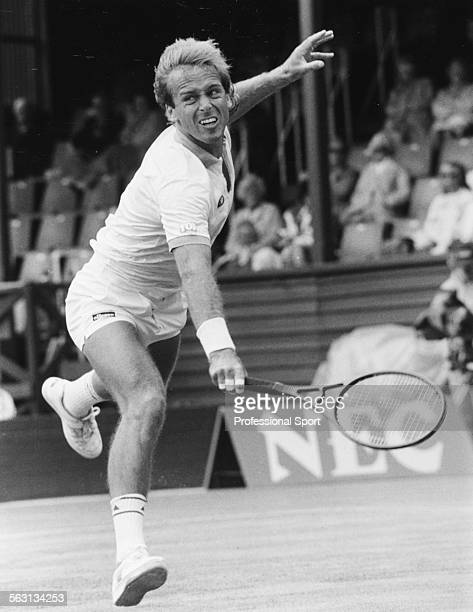 British tennis player John Lloyd in action during a tennis tournament in Eastbourne circa 1985