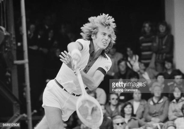 British tennis player John Lloyd in action UK 20th June 1977
