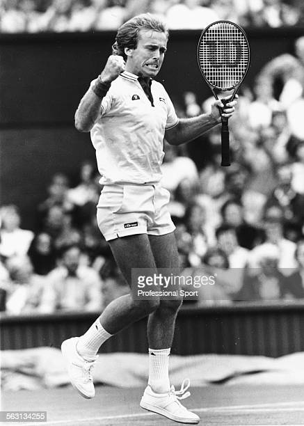 British tennis player John Lloyd pumps his first during play at Wimbledon Tennis Tournament London June 1985