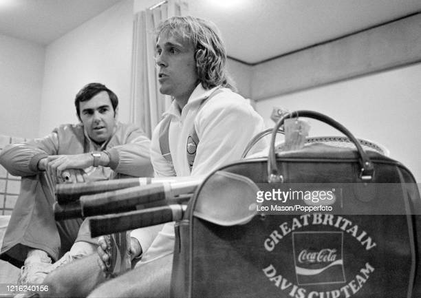 British tennis player John Lloyd with captain Paul Hutchins before the 1978 Davis Cup Final at the Mission Hills Country Club on December 5 1978 in...