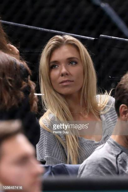 British tennis player Katie Boulter is seen supporting her boyfriend Jack Sock during day five of the Rolex Paris Masters on November 2 2018 in Paris...