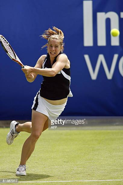 British tennis player Katie O'Brien in action against Australian tennis player Samantha Stosur during the first day of the International Women's Open...