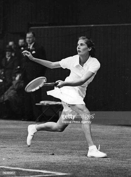 British tennis player Kay Stammers in action at Wimbledon during play in the women's singles final against Alice Marble Original Publication People...