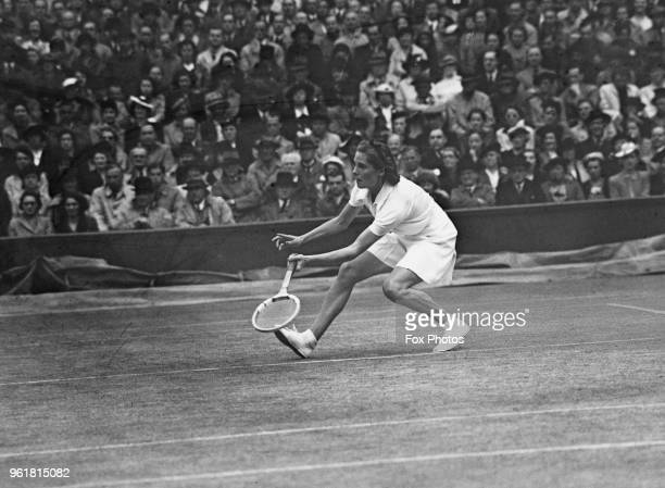 British tennis player Kay Stammers plays Alice Marble in the final of the Women's Singles at Wimbledon London 8th July 1939 Marble won the match and...