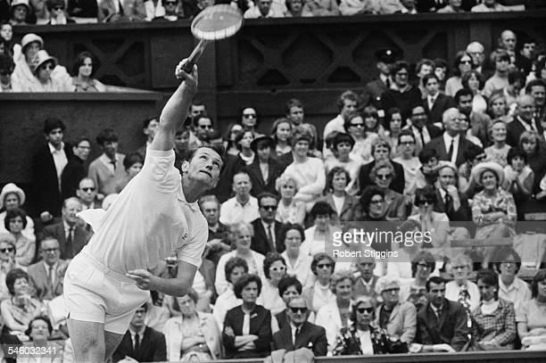 British tennis player Mike Sangster during a match against Australian player Ken Fletcher at Wimbledon London 1967