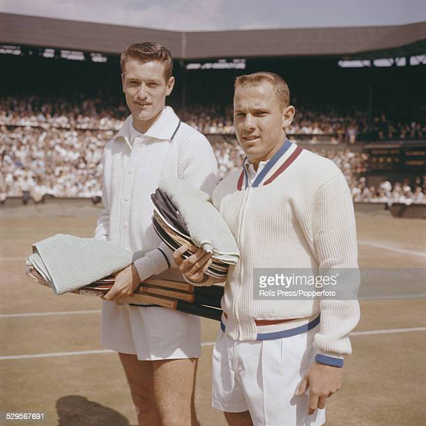British tennis player Mike Sangster on left and American tennis player Chuck McKinley on right pictured together prior to their semifinal match at...