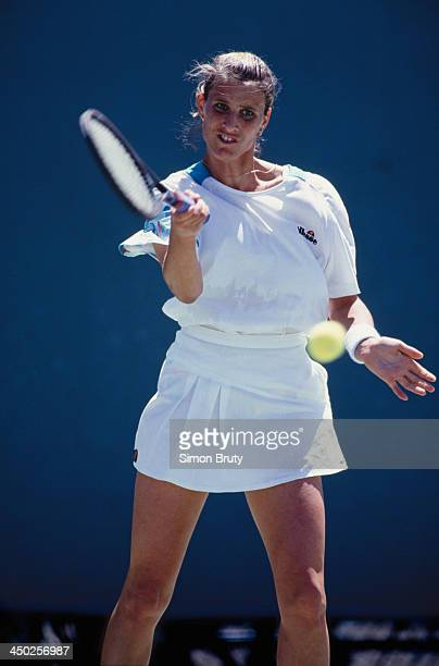 British tennis player Monique Javer competing at the Australian Open at at Flinders Park in Melbourne January 1993 Javer was knocked out in the...