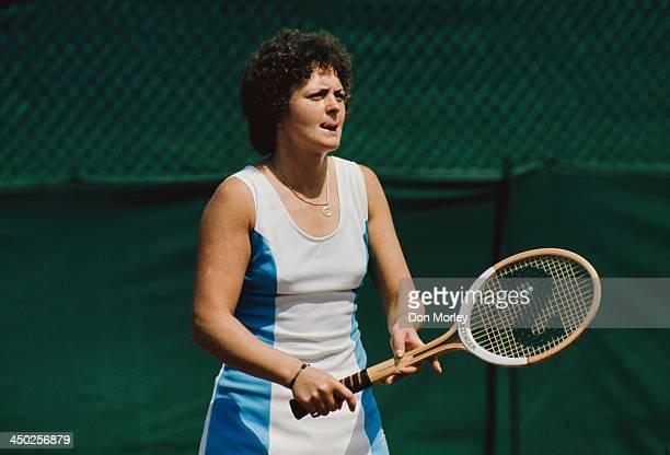 British tennis player Sue Mappin on court 1975