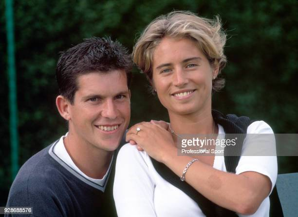 British tennis player Tim Henman and his fiance Lucy Heald pose together after announcing their engagement circa 1999