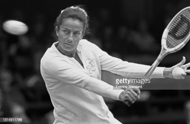 British tennis player Virginia Wade competes in the 1973 Wimbledon Championships in London, UK, July 1973.