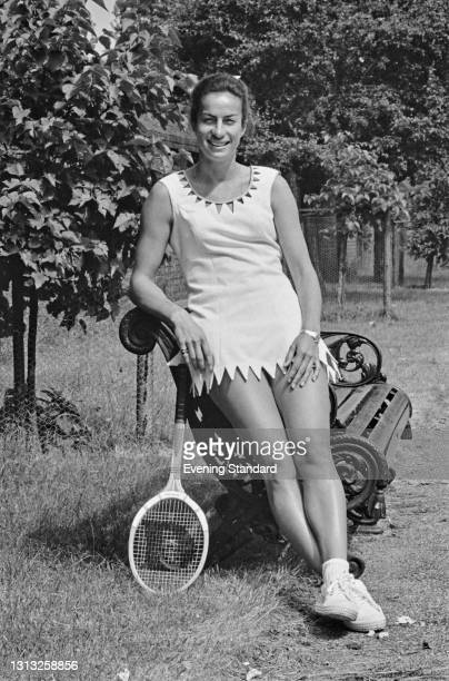 British tennis player Virginia Wade in London, UK, 25th June 1973. She is wearing a tennis dress with a scalloped neckline by British fashion...