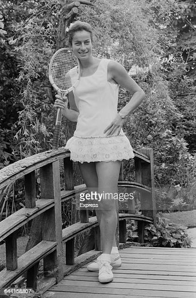 British tennis player Virginia Wade modelling Teddy Tinling tennis fashions UK 18th June 1971