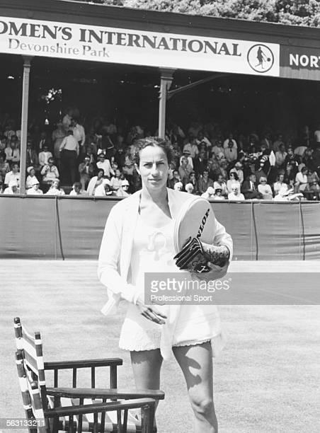 British tennis player Virginia Wade preparing to play in a match at the Women's International Tennis Tournament at Devonshire Park Eastbourne in 1974