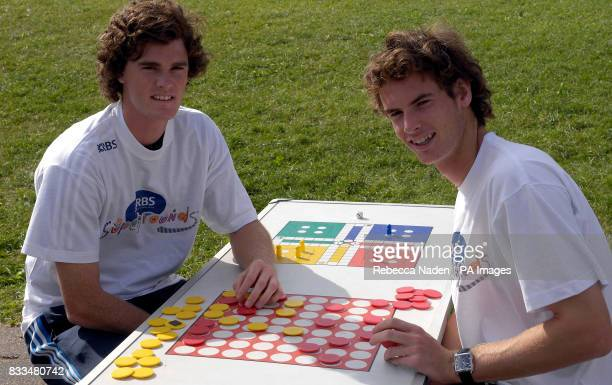 British tennis players Andy and Jamie Murray at Dorchester Primary School, Surrey.