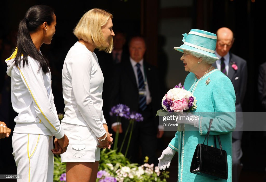 The Queen Attends The All England Tennis Championships At Wimbledon