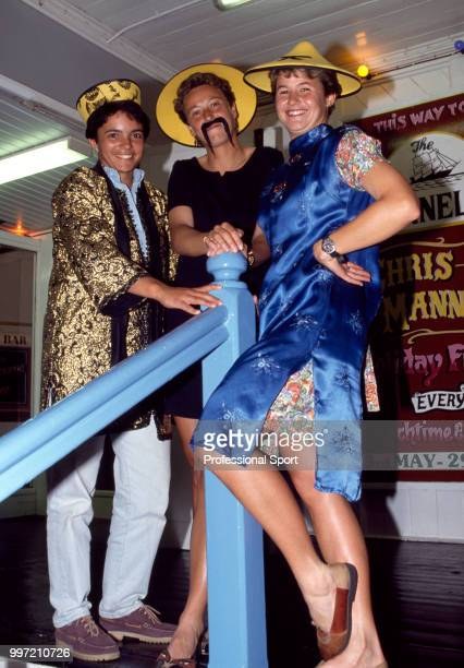 British tennis players Belinda Borneo Jo Durie and Clare Wood pose in costumes at the Players' Party during the Pilkington Glass Tennis Championships...