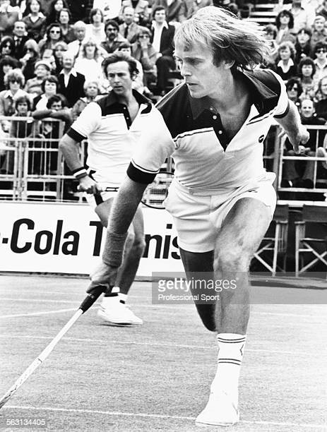 British tennis players John Lloyd and David Lloyd in action in a Men's Doubles match against Romania during a Davis Cup competition in 1980