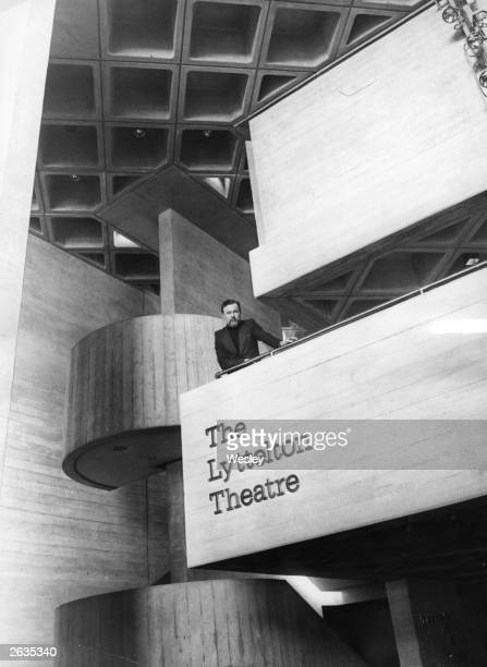 British theatre opera and film director Peter Hall director of the National Theatre Company in the foyer of the newlyopened Lyttelton Theatre London...