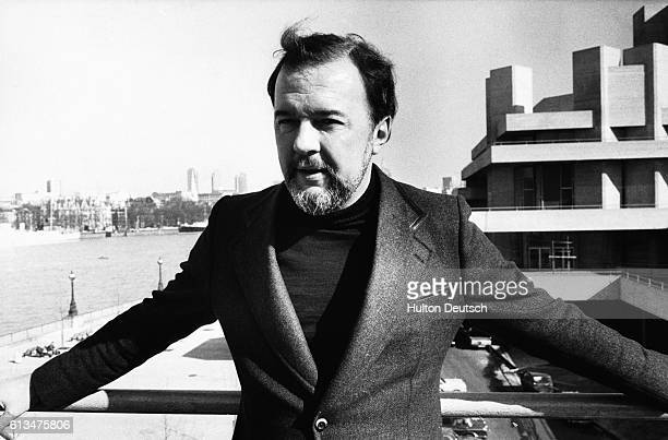 British theatre opera and film director Peter Hall standing outside the National Theatre London 1976 Hall was appointed successor to Laurence Olivier...