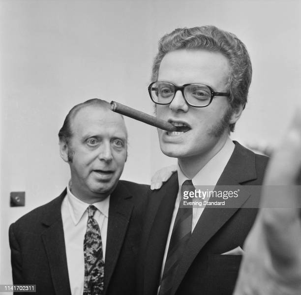 British theatrical talent agent Leslie Grade with his son English television executive and businessman Michael Grade UK 27th October 1969