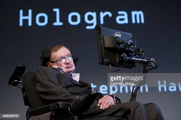 British theoretical physicist professor Stephen Hawking attends a symposium during the opening of the PLANCKS event in Amsterdam on May 23 2014...