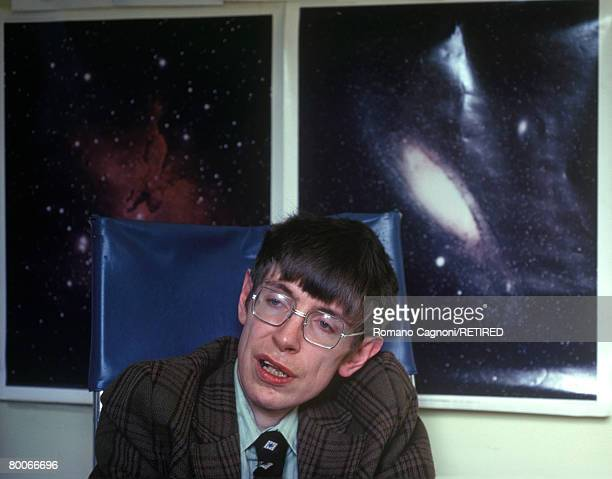 British theoretical physicist Professor Stephen Hawking in his office at the Department of Applied Mathematics and Theoretical Physics at the...