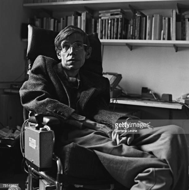 British theoretical physicist Stephen Hawking, Cambridge University Professor and Fellow, circa 1985.