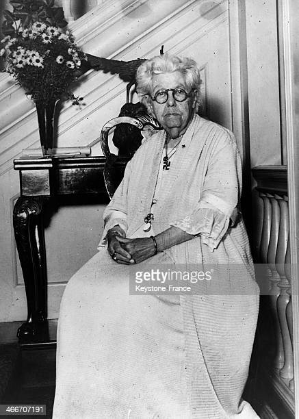 British theosophist Annie Besant circa November 1931 in United Kingdom