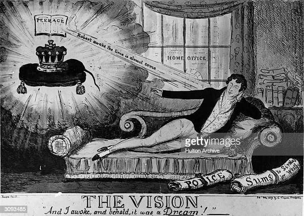British Tory politician Sir Robert Peel dreaming of a peerage while at the Home Office