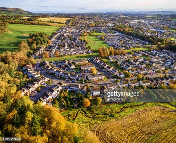 british town in autumn from the air - scotland stock pictures, royalty-free photos & images