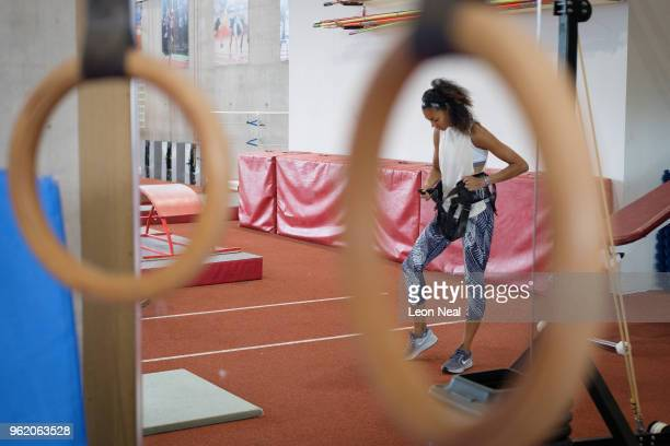 British Track and Field athlete Morgan Lake prepares to train at the British Athletics National Performance Institute on May 24 2018 in Loughborough...