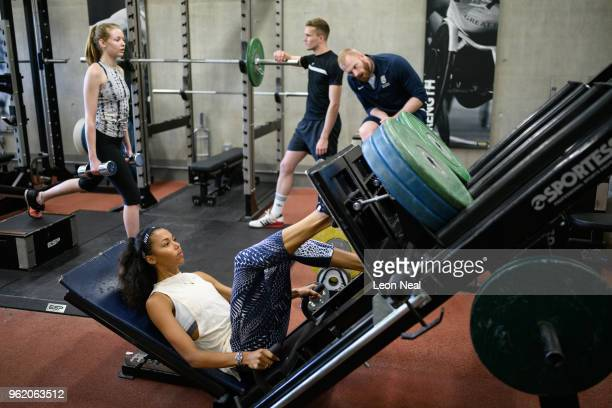 British Track and Field athlete Morgan Lake trains at the British Athletics National Performance Institute on May 24 2018 in Loughborough England The...