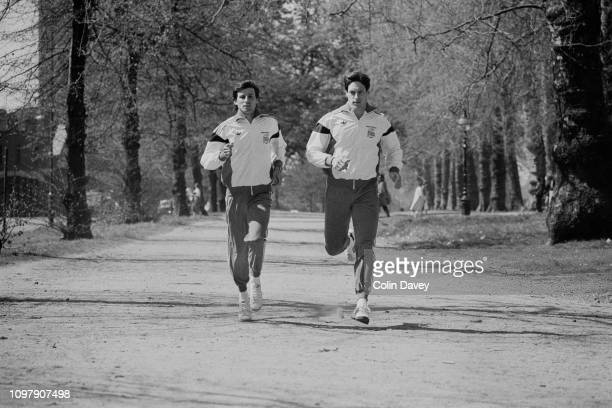 British track and field athletes Sebastian Coe and Allan Wells training outdoors UK 24th April 1984