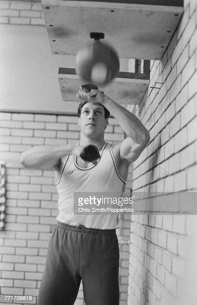 British track and field sprinter Allan Wells pictured in training using a boxing speed ball in a gym in the United Kingdom in 1980 Allan Wells would...