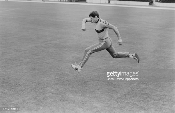 British track and field sprinter Allan Wells pictured in training on the infield of a running track in the United Kingdom in 1980 Allan Wells would...