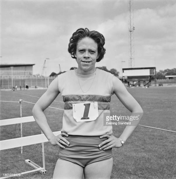 British track and field sprinter Andrea Lynch at Crystal Palace Athletics Stadium in London, UK, 5th June 1973.