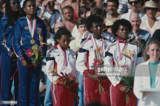 British track athletes from left Simmone Jacobs Kathy SmallwoodCook Beverley Goddard and Heather Oakes of the Great Britain team stand together on...