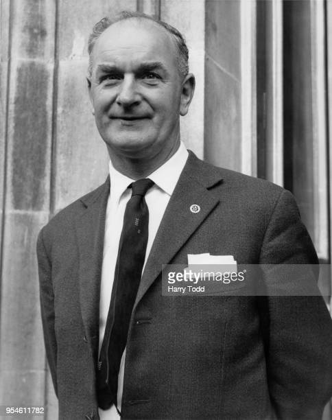 British trade union leader Hugh Scanlon executive member of the Amalgamated Engineering Union at the Ministry of Labour in London to discuss the pay...